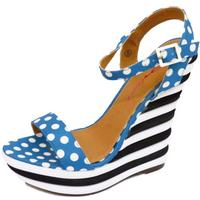 View Item LADIES DOLCIS BLUE BLACK POLKA-DOT WEDGE PLATFORM STRAPPY SANDAL SHOES SIZES 3-8